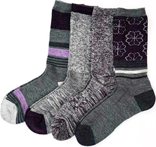 - Kirkland Signature Ladies' Trail Socks Merino Wool, 4 Pairs, Charcoal/Purple