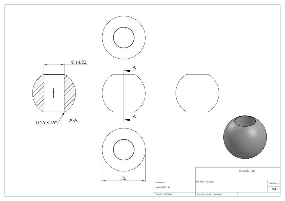 mit Sackloch 12,2 mm roh Kugel /Ø 25 mm Stahl S235JR Fenau