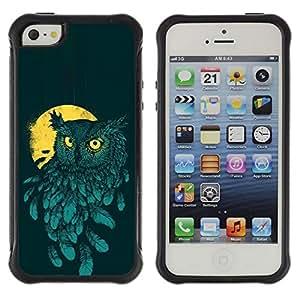 Suave TPU GEL Carcasa Funda Silicona Blando Estuche Caso de protección (para) Apple Iphone 5 / 5S / CECELL Phone case / / Teal Yellow Night Bird Painting /