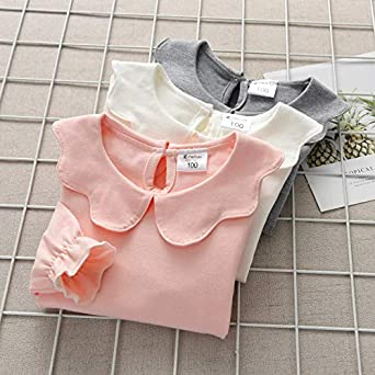 MODNTOGA Kids Girls Basic Shirt Long Sleeve 3 Solid Color Doll Collar Tops Blouse