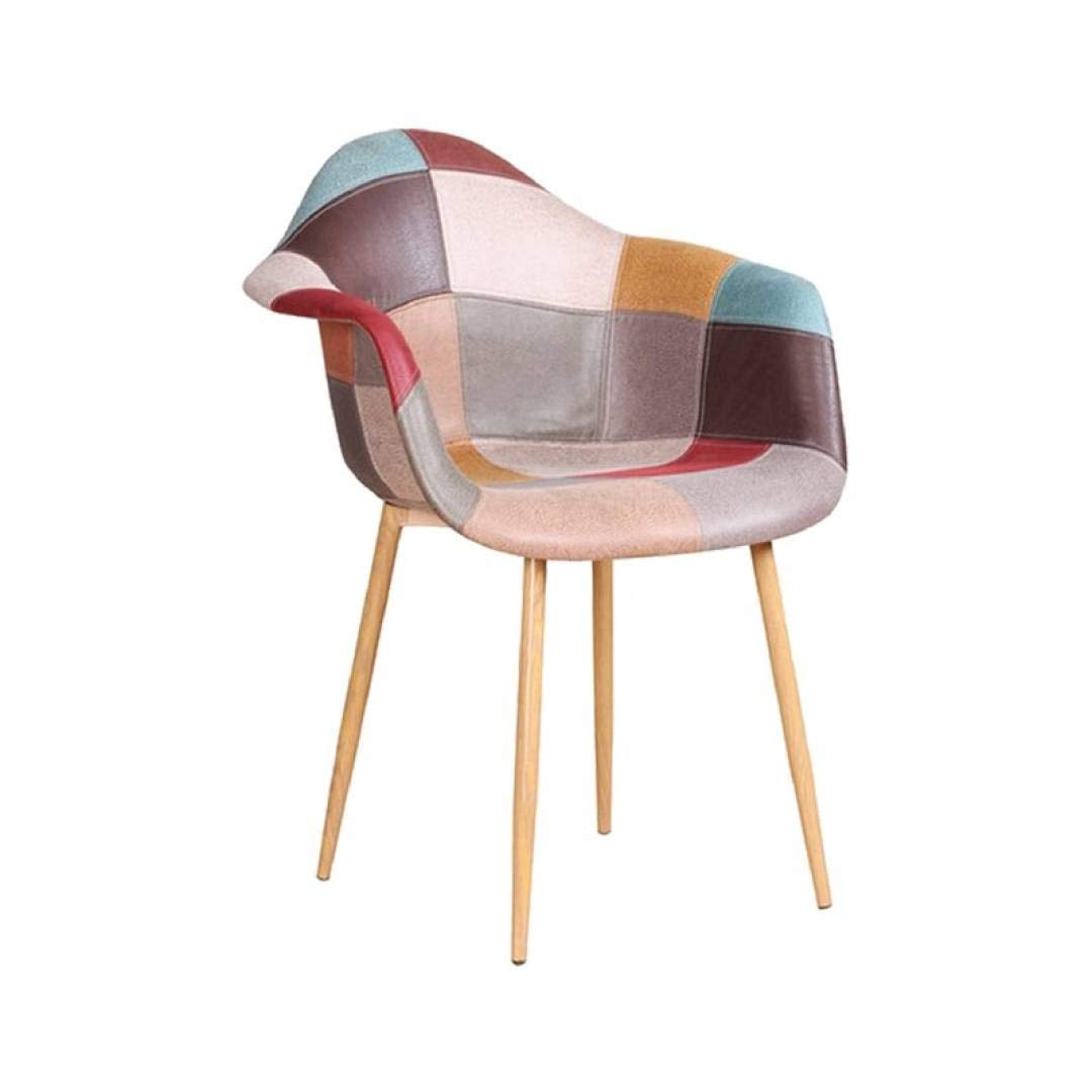 Sedie//poltrona patchwork dai colori diversi con inserto in metallo imitazione legno, Zone Oraz