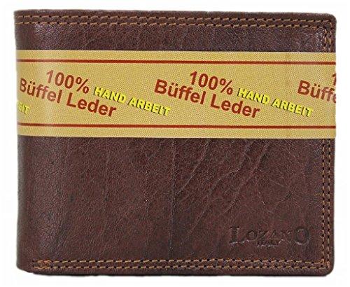 Lozano Voll-Leder Geldbörse Kreditkartenetui aus echtem Büffelleder LGL009