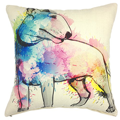 YOUR SMILE Bull Terrier Cotton Linen Square Decorative Throw Pillow Case Cushion Cover 18x18 Inch(44CM44CM) (Color#207)
