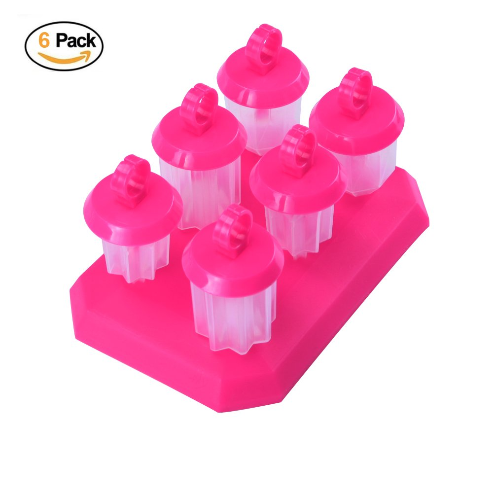 Ice Molds,6 Pcs Set Jelly Mould Ice Cream Silicone Popsicle Molds with Base Kitchen Tool BPA Free and FDA Approved for Kids and Adults - Red langpin