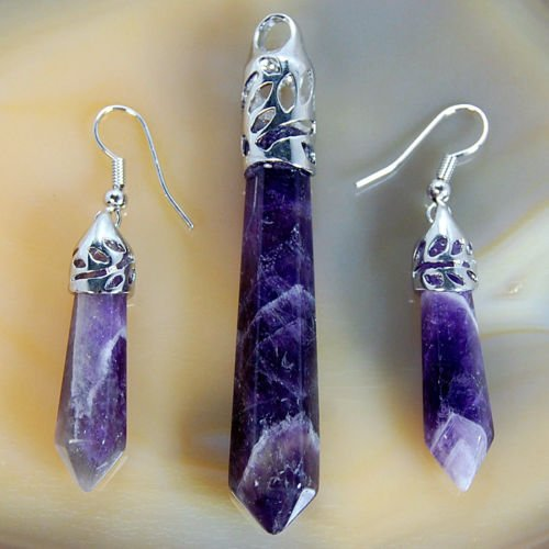 Amethyst Pendant Earrings Set (Natural Gemstones Hexagonal Pointed Reiki Chakra Pendant And Earrings Set (Purple Amethyst))