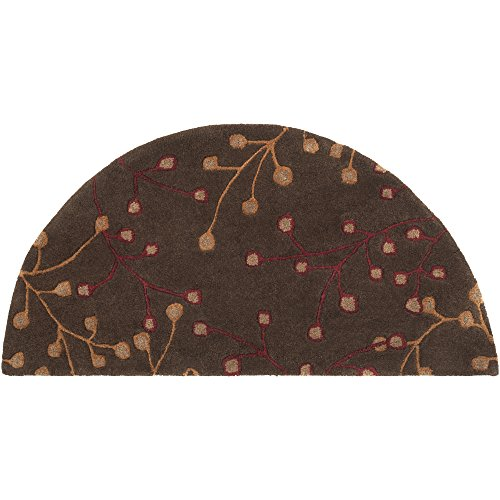 Surya Athena ATH-5052 Transitional Hand Tufted 100% Wool Dark Chocolate 2' x 4' Hearth Floral Accent Rug