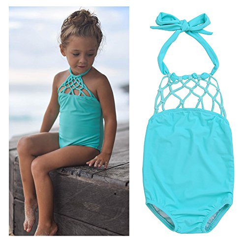 Faithtur Toddler Baby Kids Solid Cutout Halter Bikini Swimsuit One Piece for Girls 1-6 Years