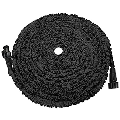 POYINRO Expandable Garden Hose, Strongest Expanding Garden Hose on The Market with Triple Layer Latex Core & Latest Improved Extra Strength Fabric Protection for All Your Watering Needs(Black