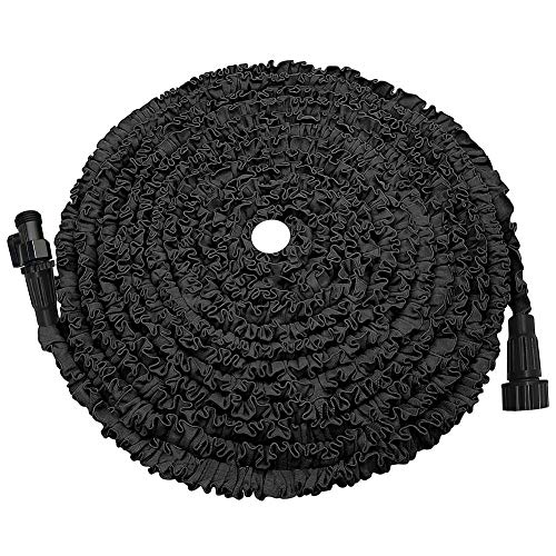 POYINRO Expandable Garden Hose, 25ft Strongest Expanding Garden Hose on The Market with Triple Layer Latex Core & Latest Improved Extra Strength Fabric Protection for All Your Watering Needs Black