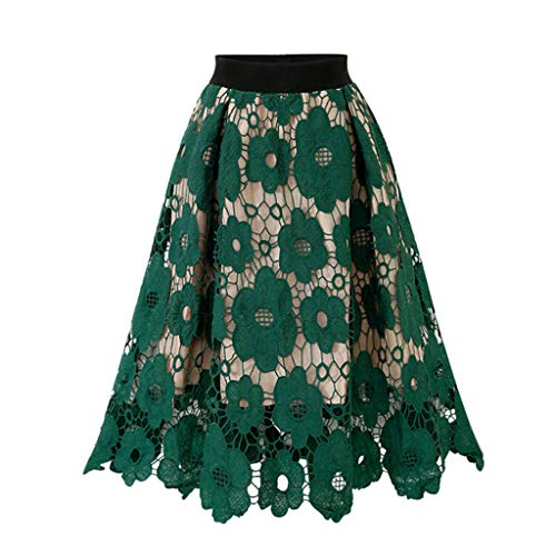 Womens Crotch Lace Knee Length Ladies Soft Stretch Flared Printed Skater Skirt Green