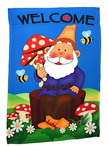 "Lantern Hill Premium Garden Flag Yard Decoration; 12"" x 18""; Double Sided Reads Correctly Both Sides (Cheerful Gnome Welcome)"