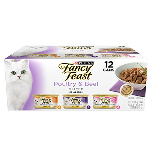 Purina Fancy Feast Sliced Poultry and Beef Variety Pack Gourmet Wet Cat Food – (24) 3 oz. cans