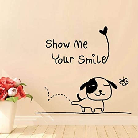 ljradj Happy Puppy with Show Me Smile Pegatinas de Pared ...