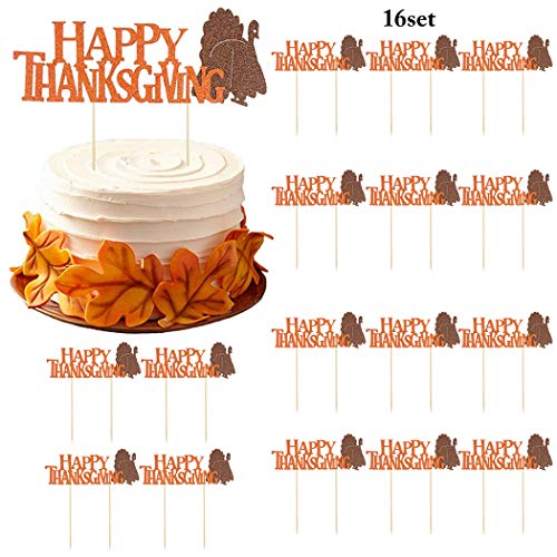 Birthday Cake Toppers, Coxeer 16 PCS Happy Birthday Turkey Toppers Party Cake Food Picks Dessert Decoration Turkey Cupake Topper