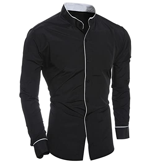 WM & MW Business Shirts,Mens Dress Shirt Stand Neck Long Sleeve Button Casual Slim
