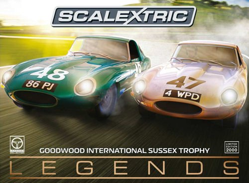 Scalextric C3898A Legends Jaguar E-Type 1963 International Trophy Twin Pack E, Green, 1: 32 (Slot Car Runner)