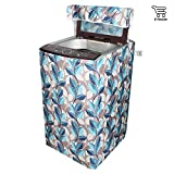 E-Retailer Classic Blue Leaves Design Top Load Washing Machine Cover (Suitable For 6 kg, 6.5 kg, 7 kg, 7.5 kg)