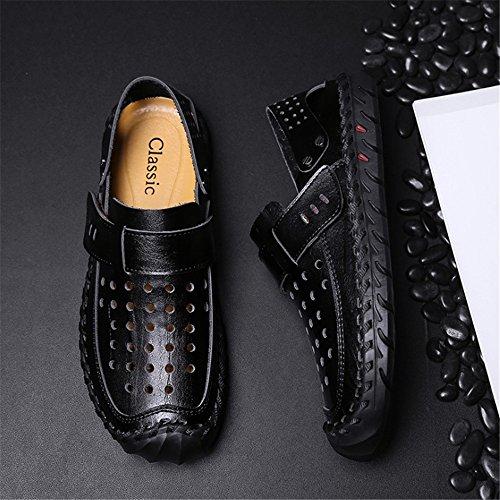 Nero Estivi Sandali pantofole Scarpe Nero 40 Wagsiyi EU Sandali Marroni Colore Scarpe Dimensione Pelle Comode In da spiaggia Casual Uomo Da Casual E1wqdwP