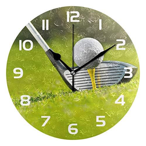 TropicalLife Sport Golf Ball Decorative Wall Clock Acrylic Round Clocks Non Ticking Art Decor Bedroom Living Room Kitchen Bathroom Office School
