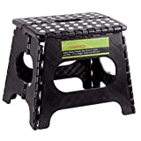 "Greenco Super Strong Foldable Step Stool for Adults and Kids, 11"", Black"