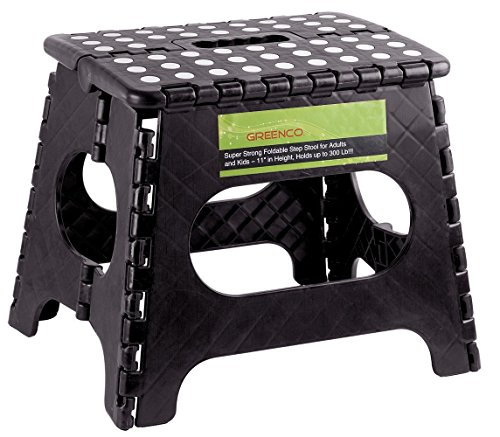 Greenco Super Strong Foldable Step Stool for Adults and Kids, 11″, Black