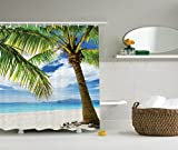 Lonely Palm Tree Shower Curtain Set By Ambesonne, Sand Beach ?solated Philippines Hot Coastline, Bathroom Accessories, 75 Inches Long