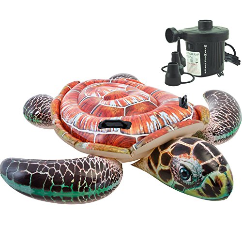 Intex Inflatable Water Ride On Sea Turtle Swimming Pool Float for Kids with Electric Pump