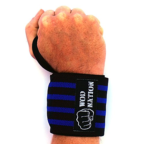 WOD Nation Wrist Wraps by Wrist Support Straps (12'', 18'' or 24'') - Fits Both Men & Women - Strength Training, Weightlifting, Powerlifting - Lift Heavier Weight (18 Inch - Black/Dk Blue) by WOD Nation (Image #2)