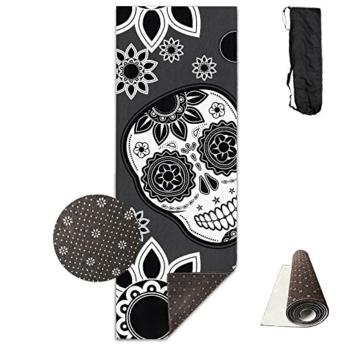 Non Slip Yoga Mat Black Skull Pattern Premium Printed 24 X 71 Inches Great For Exercise Pilates Gymnastics Carrying Strap -