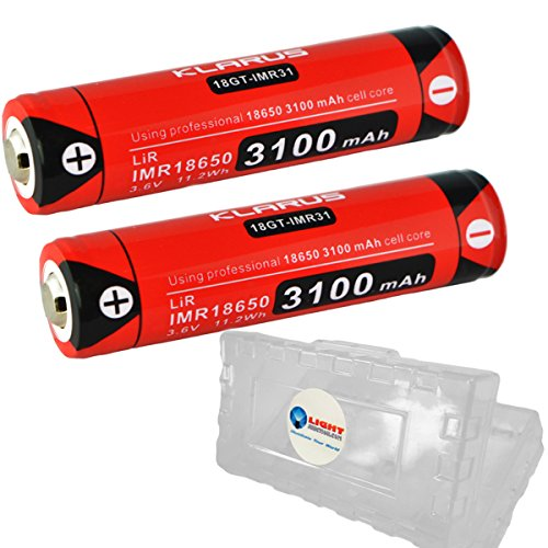 2 Pack Klarus 18GT-IMR31 18650 IMR 3100mAh Lithium Rechargeable Batteries with LightJunction Battery Case