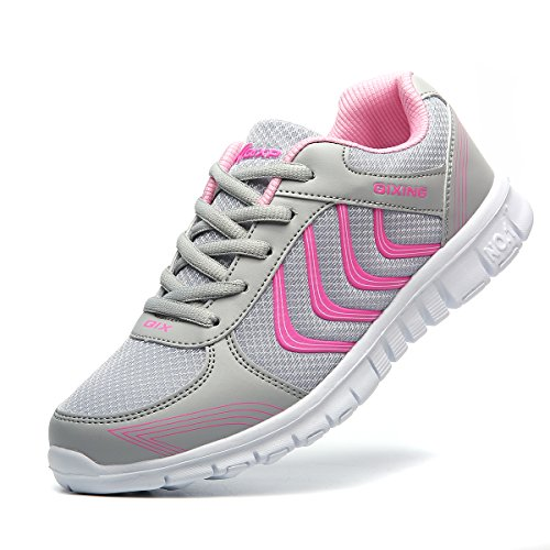 JARLIF Women's Light Weight Athletic Walking Sneakers Breathable Casual Tennis Running Shoes Gray (Baby Spice Shoes)