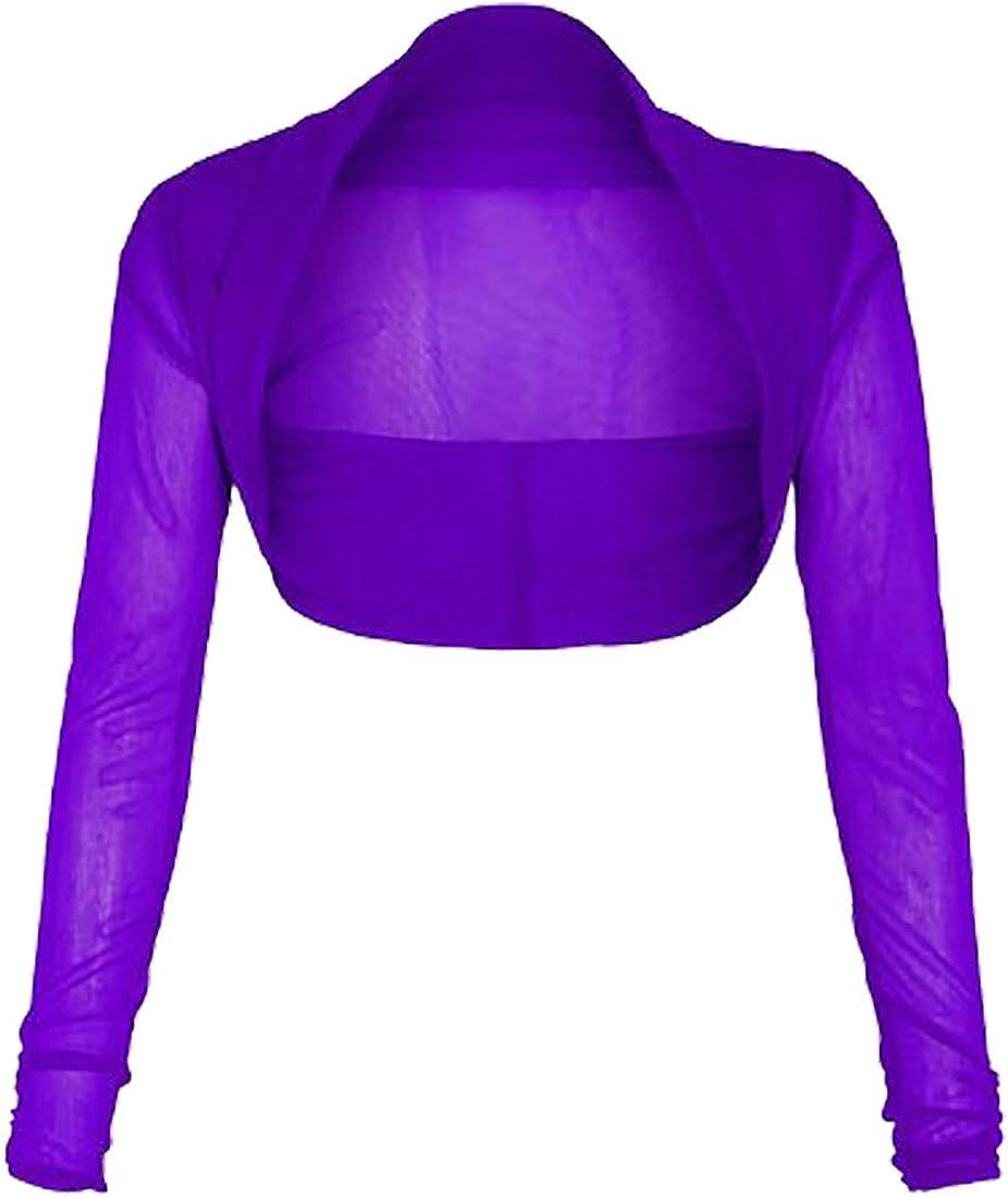 Style Stream Women Sheer Mesh Chiffon Bolero Shrug Cardigan Ladies Long Sleeve Fancy Crop Top