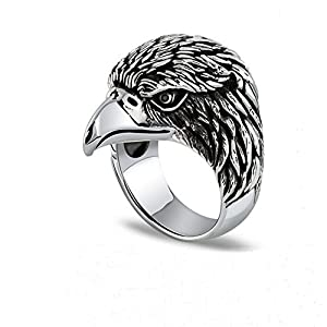 Jade Angel Men's Sterling Silver Vintage Animal Series Eagle Head Ring