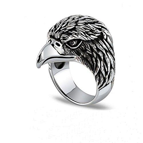 Jade Angel Men's Sterling Silver Vintage Animal Series Eagle Head Ring -