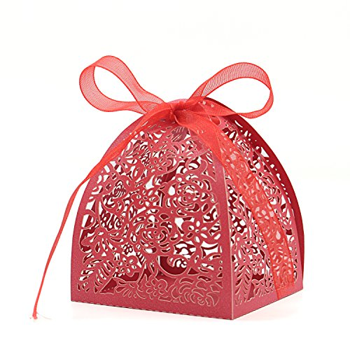 (KEIVA Pack of 100 Laser Cut Rose Candy Boxes, Favor Boxes 2.5