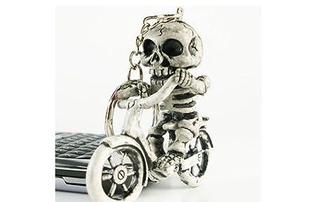 FlowerKui - Llavero de caucho con diseño de motorista esqueleto