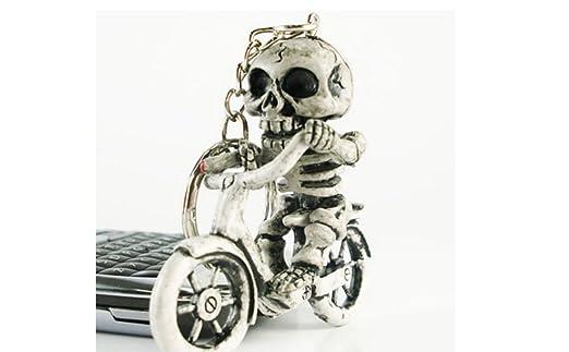 kelaina 1pieza especial bicicleta calavera esqueleto monedero bolsa de goma llavero llavero para los hombres de regalo