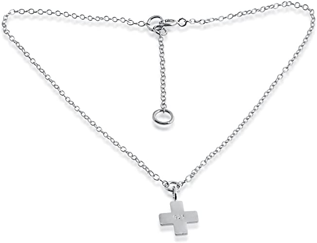 Silver charm 925 sterling silver Cross charm w lobster clasp size 9mm x 25mm