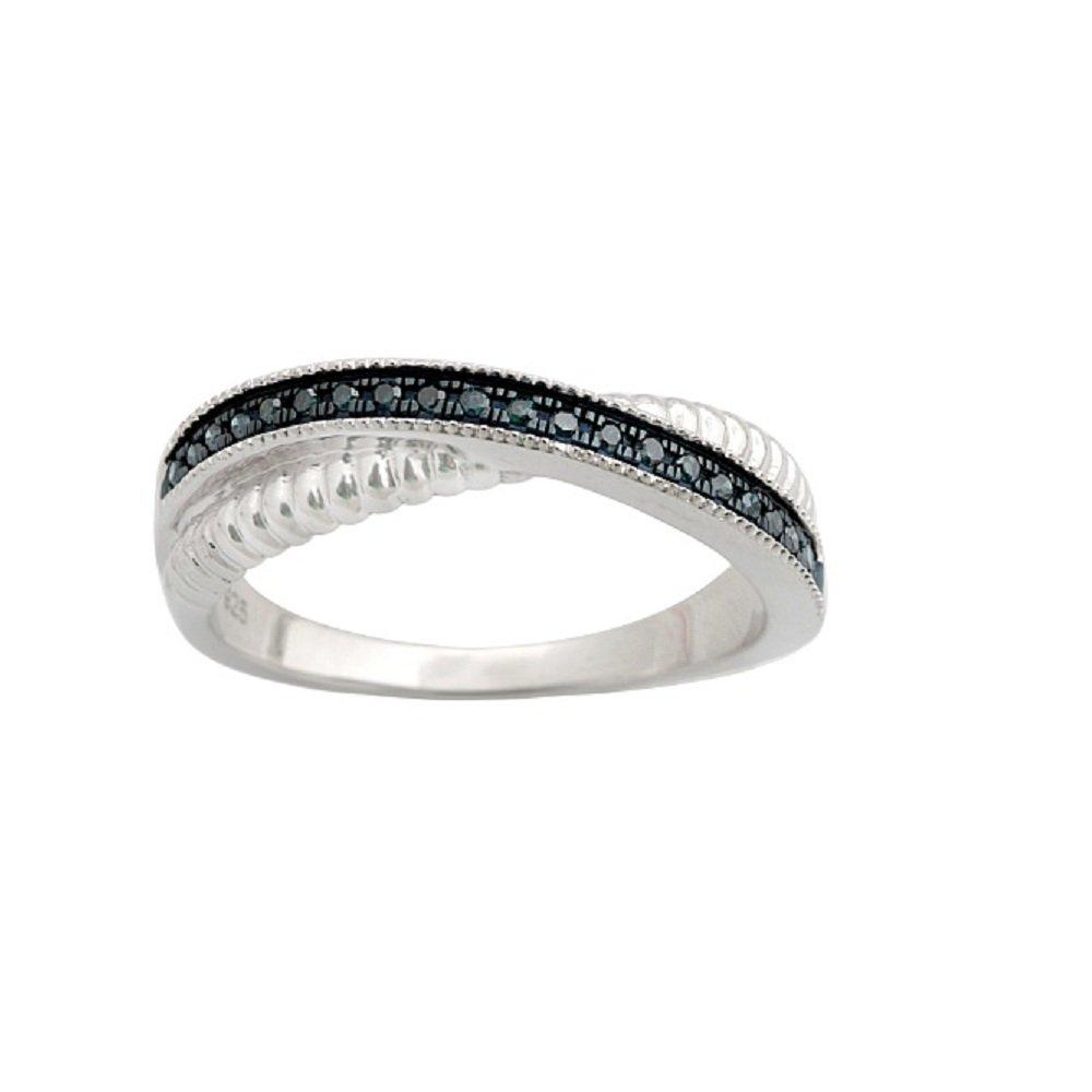 Fabulous Round Brilliant Cut Blue Diamond Twisted Half Eternity Ring,, 10k White Gold, Size 7