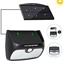 Solar Lights Outdoor, Bcway [48 LED Super Bright] [Detachable Solar Panel] 8.2ft Extension Cord Waterproof Security Lighting Nightlight with Motion Sensor Detector for Patio Yard Garden Path