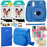 Fujifilm Instax Mini 9 Instant Camera (Cobalt Blue), 2 x Twin Pack Instant Film (40 Sheets), Camera Case, Photo Album, Square Photo Frames & Accessory Bundle