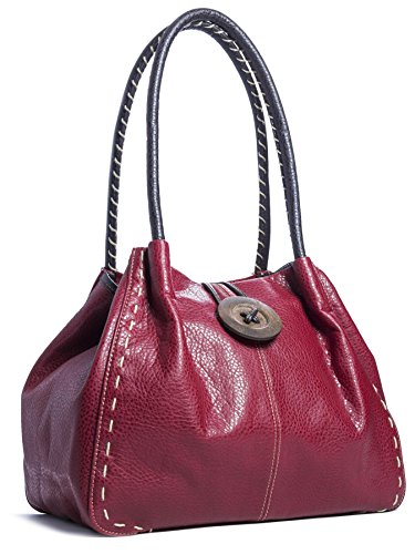 Sac Red bandoulière Big Shop à cuir gros Sac Handbag Claret Trendy bouton simili aap78R