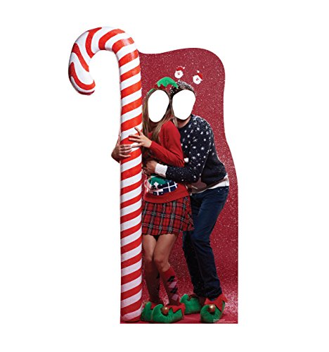 Santa Claus Candy Cane (Ugly Christmas Sweater w/ Candy Cane Stand-in - Advanced Graphics Life Size Cardboard Stand-In)