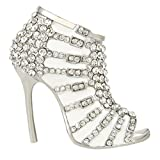EVER FAITH Austrian Crystal White Enamel Sexy High Heel Brooch Pin Clear Silver-Tone