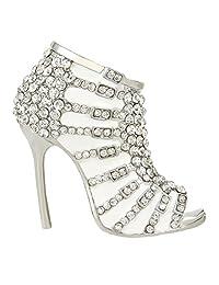 Ever Faith High-heel White Enamel Brooch with Clear Austrians Crystal A10543-7