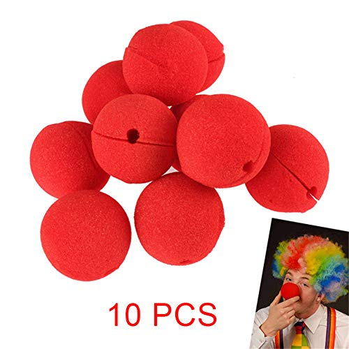 Belegend 10 Pcs/Set Sponge Red Clown Magic Nose for Halloween Masquerade Ball Party -