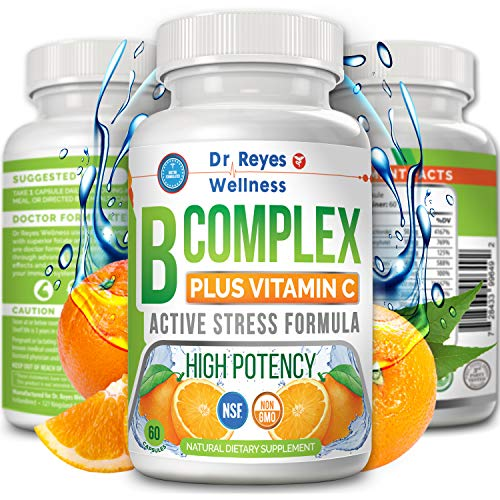 Active Vitamin B Complex with Vitamin C | Doctors Complejo B | Complete B12 B1 B2 B3 B6 B7 B9 Folate | Methyl Best Pure High Potency Stress Energy Supplement | Super Immune System | 60 Vegan Capsules