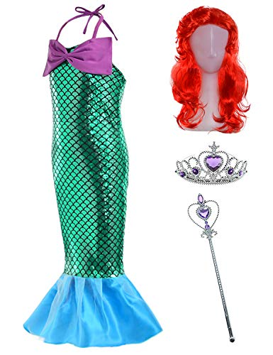 The little girls mermaid princess dress costume wig tiara wand(5T-6T)