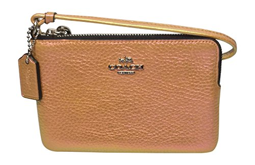 Corner Zip Small Wristlet Leather Clutch Hologram Iridescent Gold 64938