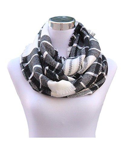 Scarf White Check (Lucky Leaf Women Girls Cozy Warm Thick Tartan Check Pattern Circle Loop Scarves (Black White Plaid))